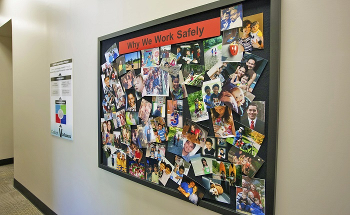 """""""Why we work safely"""" photo board"""